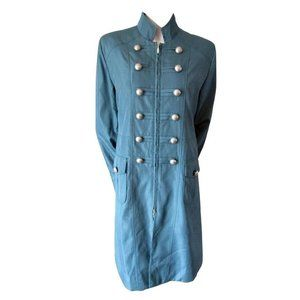 Historia Teal Military Style Trench Coat M